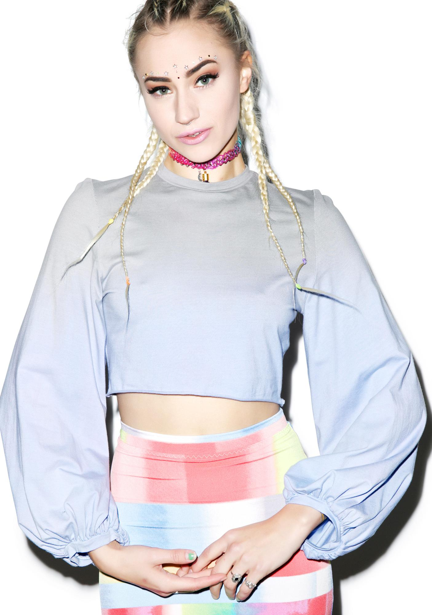 Mamadoux Bishop Sleeve Crop Top