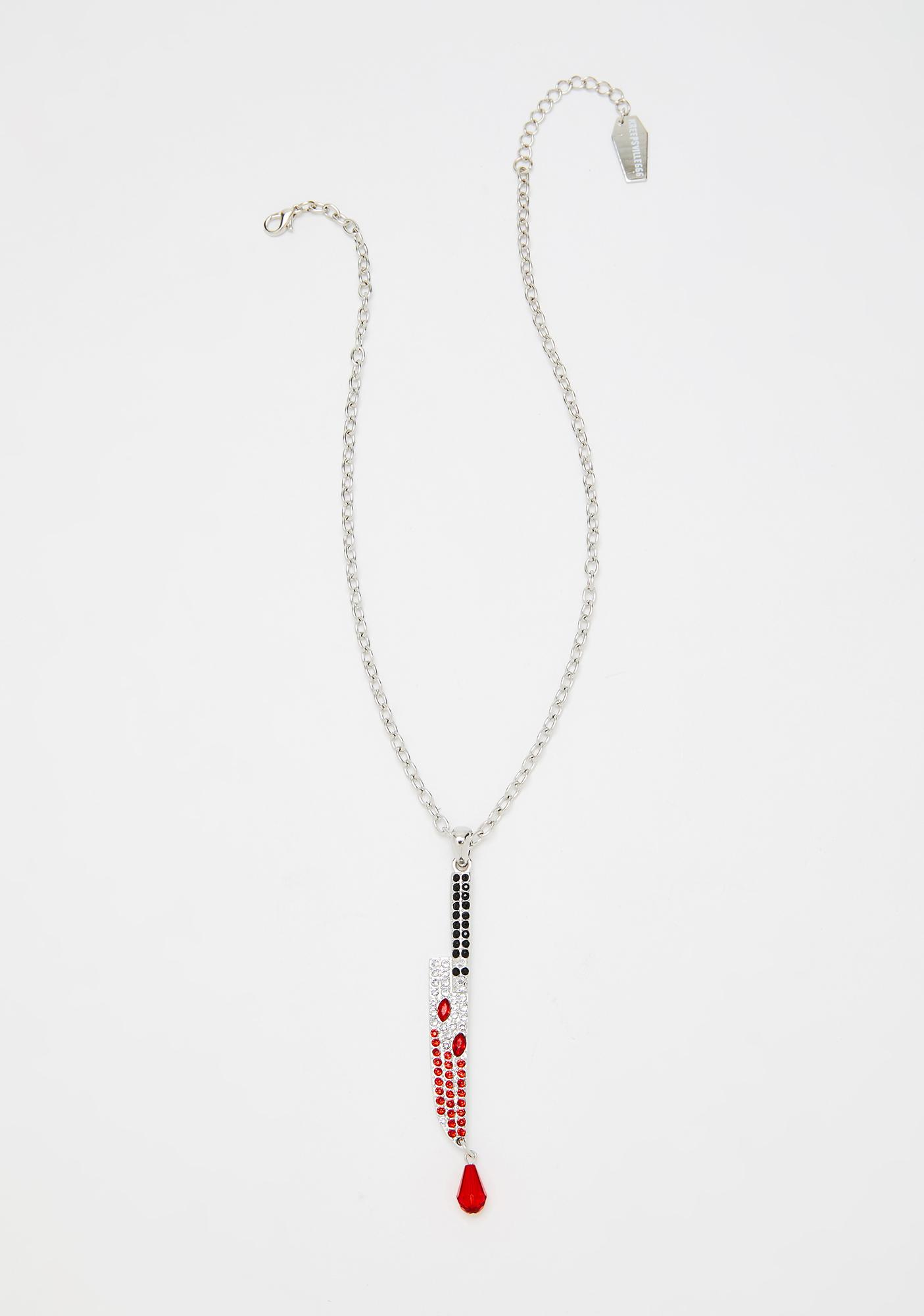 Kreepsville 666 Diamante Bloody Knife Necklace