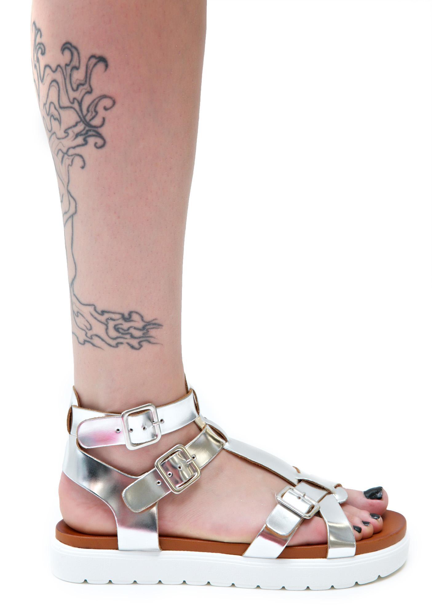 Vagabond Metallic Gladiator Sandals