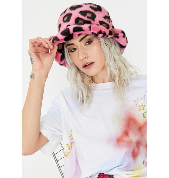 Glitter Disco Child Pink Fluffy Leopard Bucket Hat