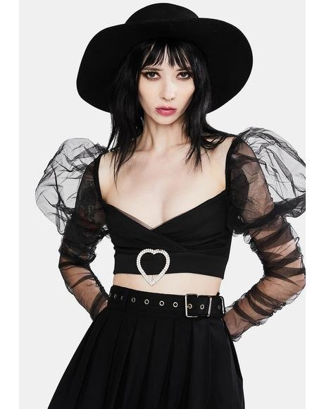 Sheer Puff Sleeve Heart Buckle Crop Top