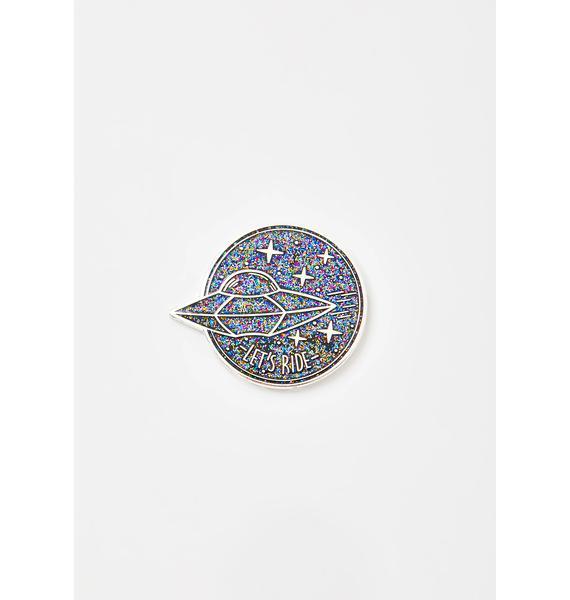 MALA Silver Glitter Planet Enamel Pin