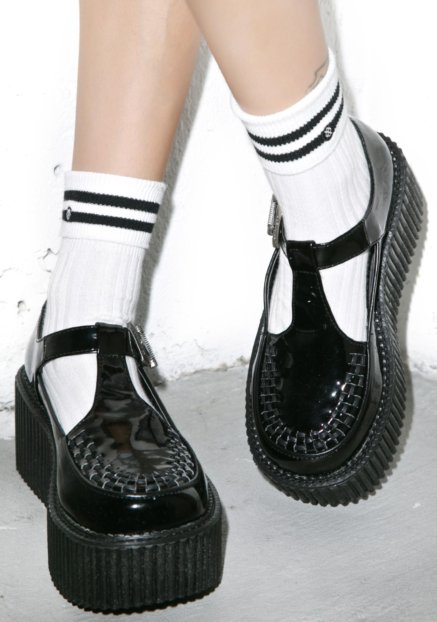 Demonia Patent T-Strap Creepers