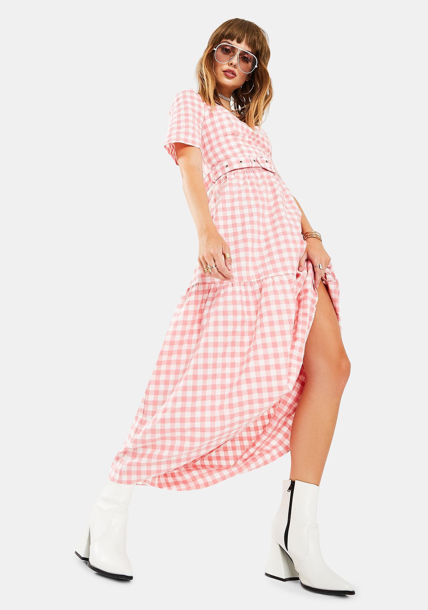 Glamorous Pink Gingham Dress