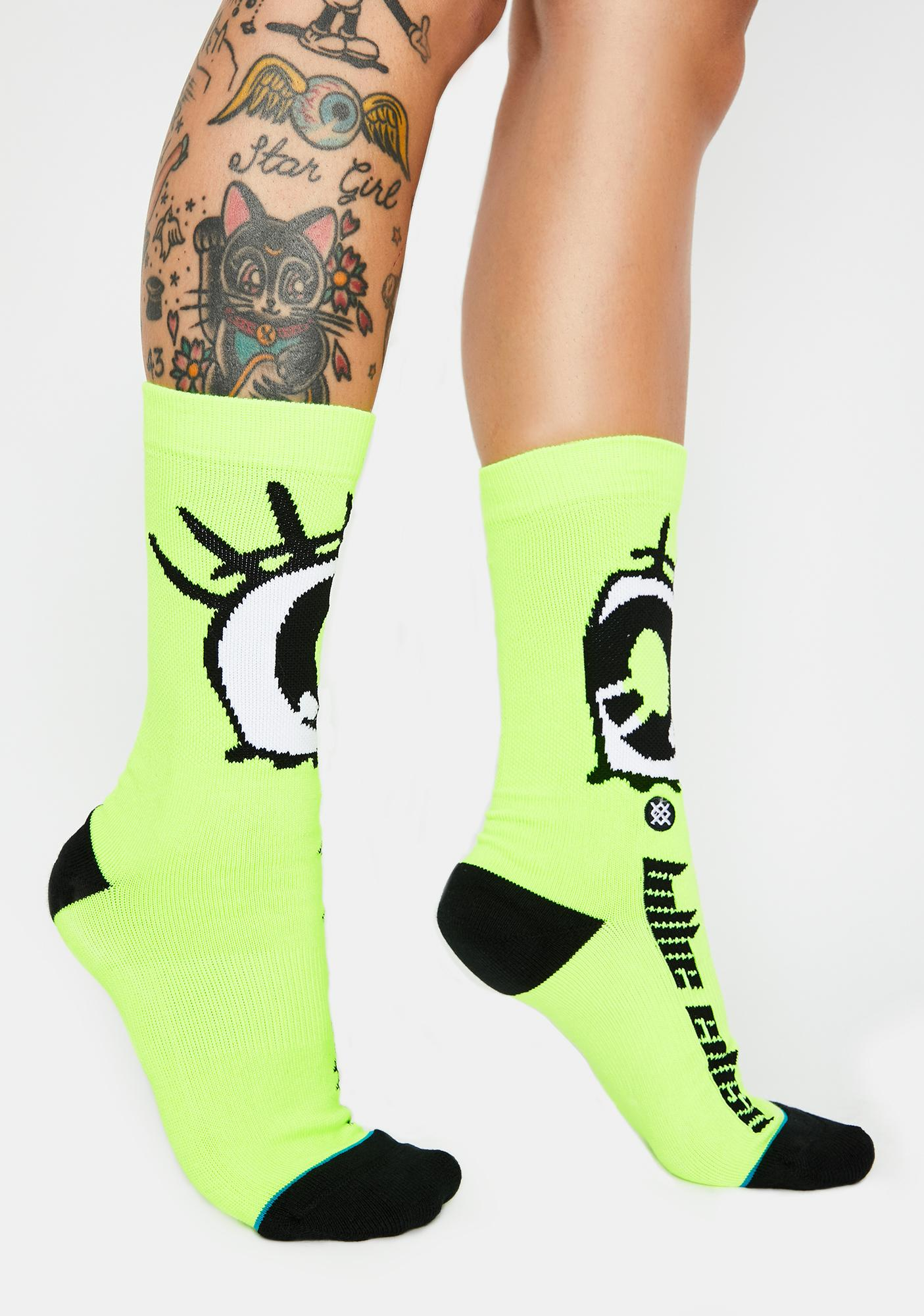 Stance Neon Green Anime Eyes Socks