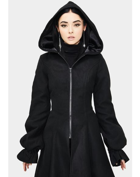 Irregular Hooded Wool Coat