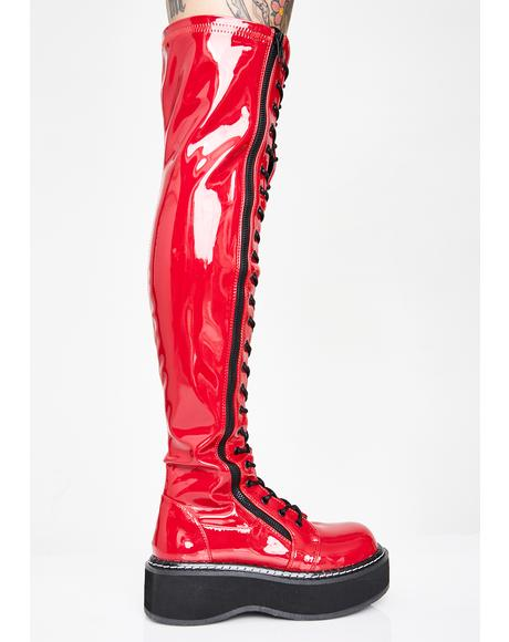 Cherry Grand Stand Knee High Boots