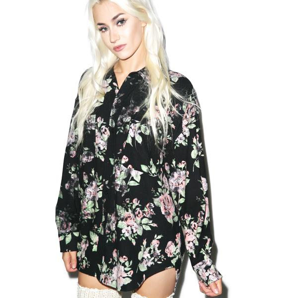 Wildfox Couture Vintage Flannel Roses Button Down