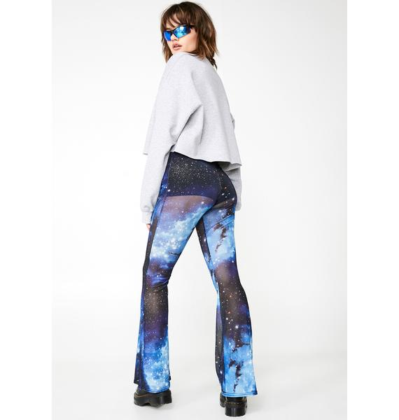Daisy Street Galaxy Print Mesh Flared Trousers