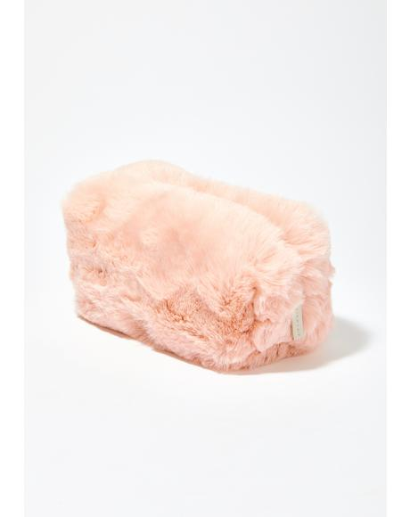 Cotton Candy Faux Fur Makeup Bag