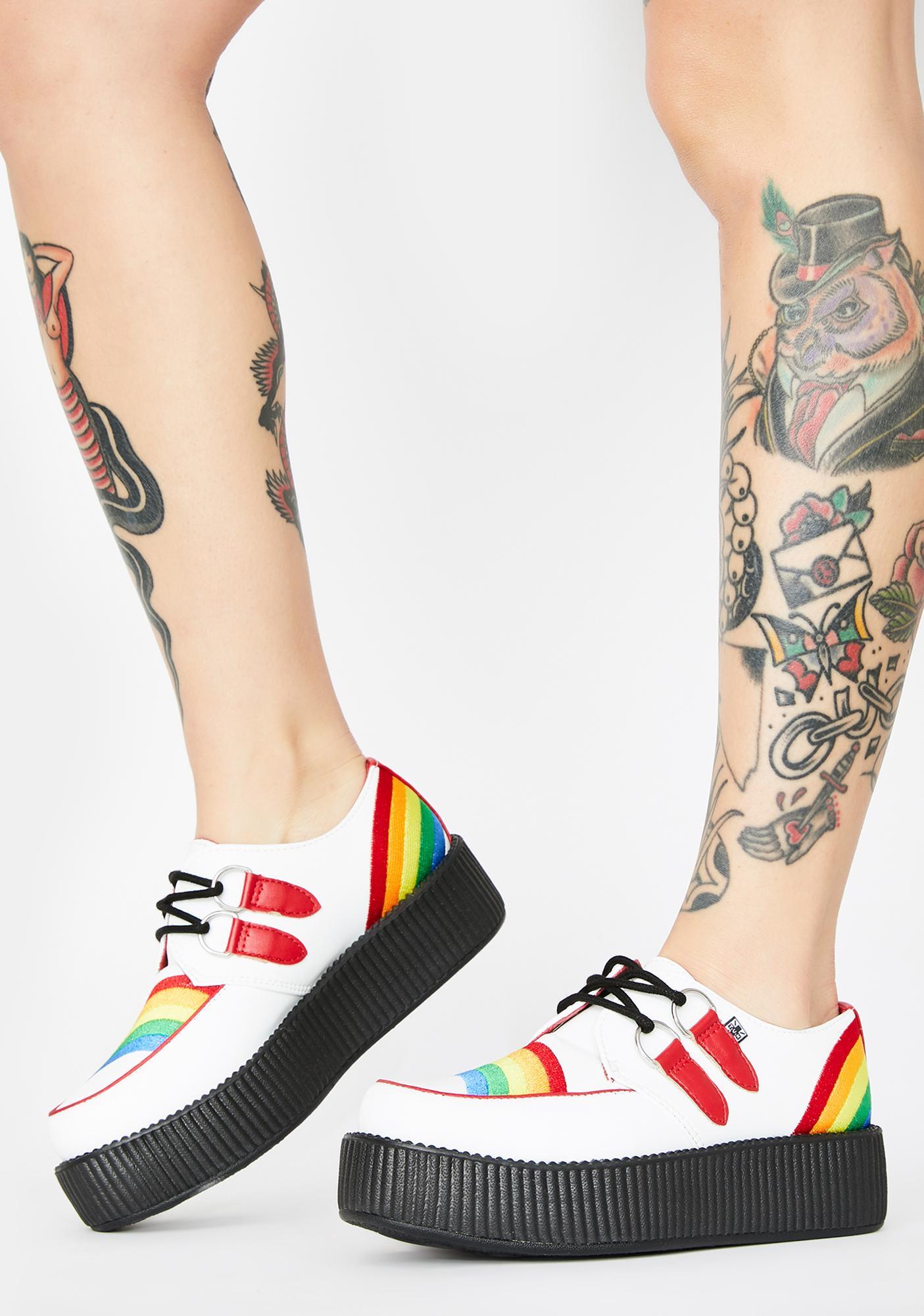 T.U.K. White N' Rainbow Viva Mondo Creepers