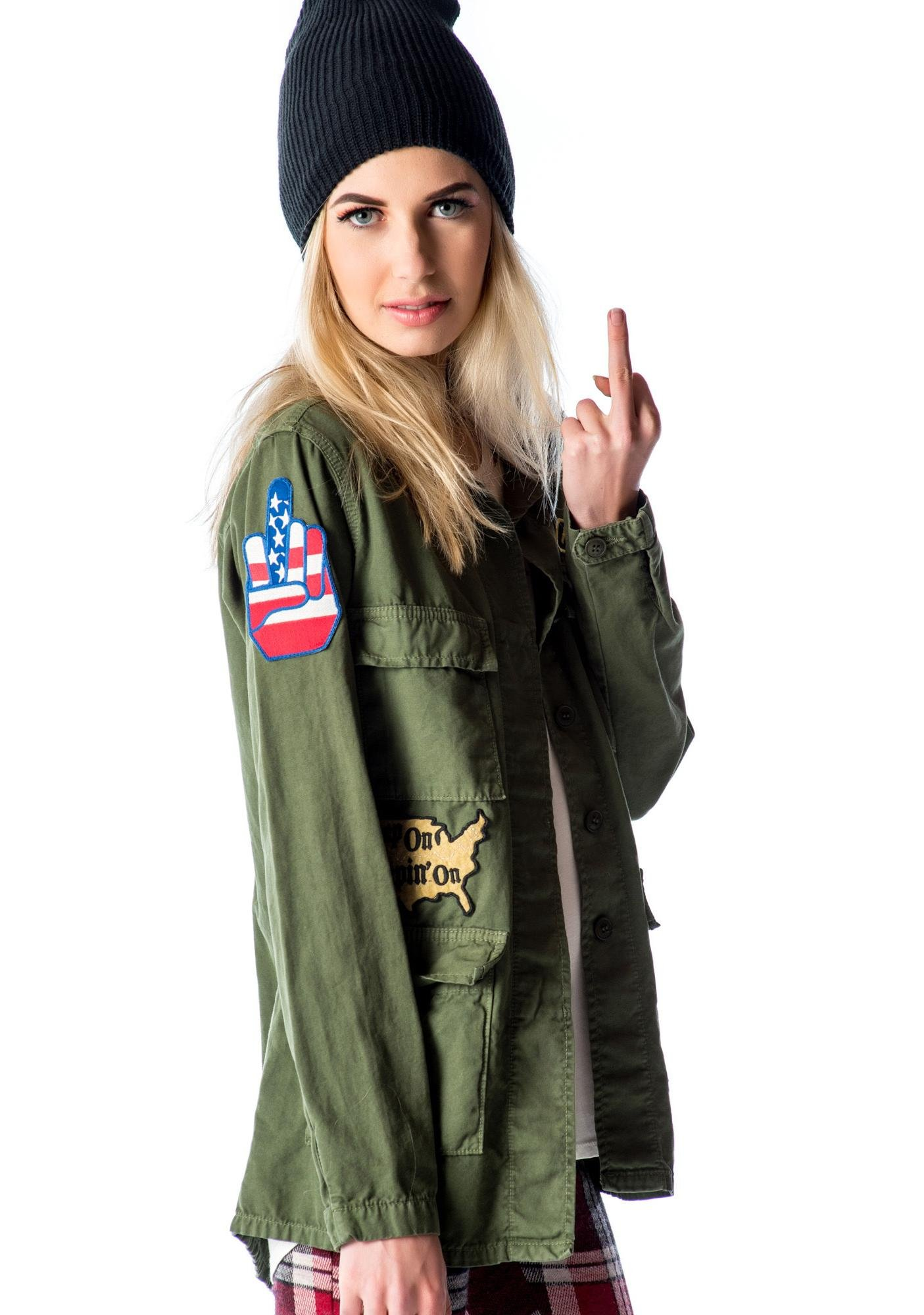 Kill City Fatigued Studded Military Jacket