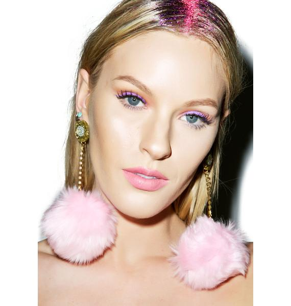 Suzywan Deluxe Fluffy Pom-Pom Earrings