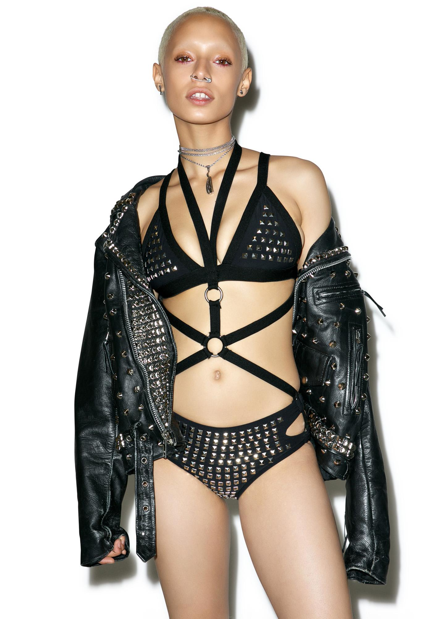 Hazmat Design Vintage Deadstock Die Die My Darling Studded Bodysuit