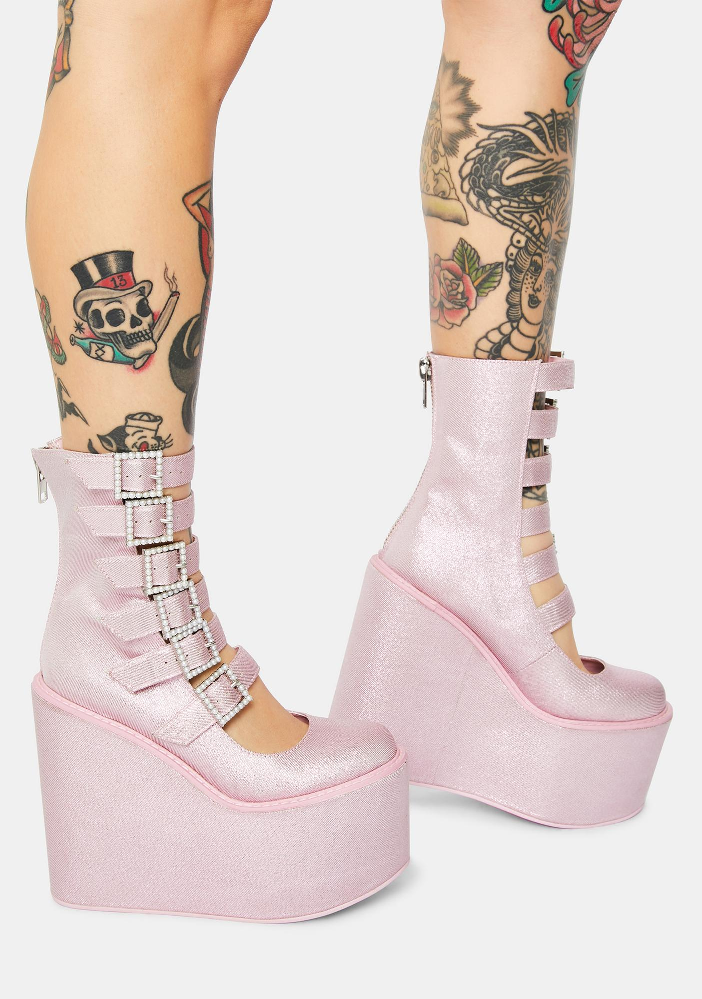 Sugar Thrillz Divine Last Act Rhinestone Buckle Traitor Boots