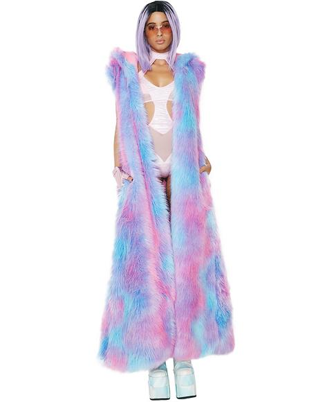 Cotton Candy Fur Duster
