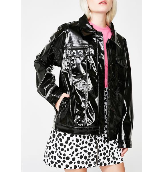 Lazy Oaf Leopard Collar Vinyl Jacket