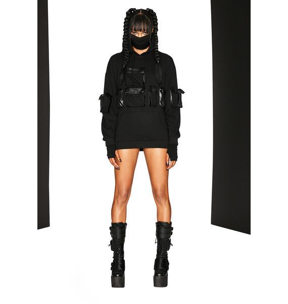 Club Exx Dance And Destroy Cargo Pocket Hoodie