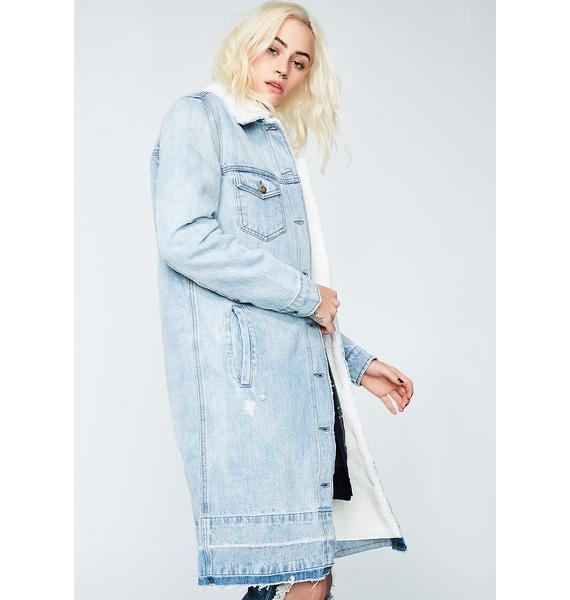 Pure Chaos Shearling Denim Coat