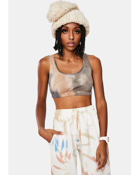 Mocha Wanna Be My Lover Tie Dye Sports Bra