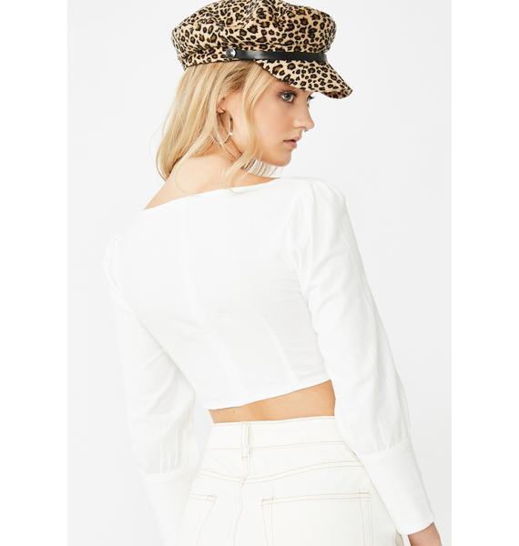 Momokrom White Cuff Bustier Crop Top