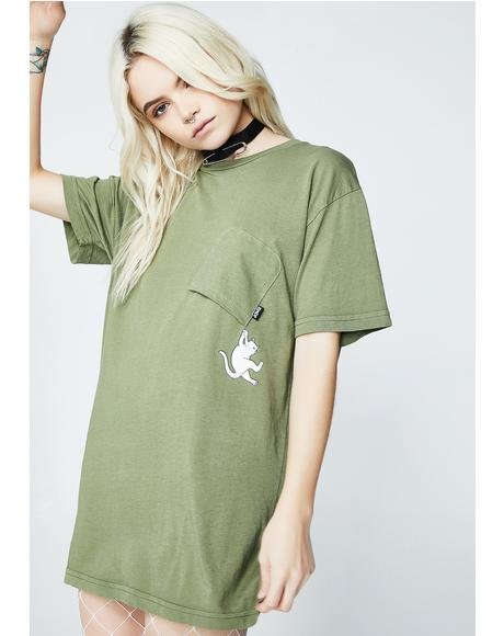 Olive Hang In There Pocket Tee