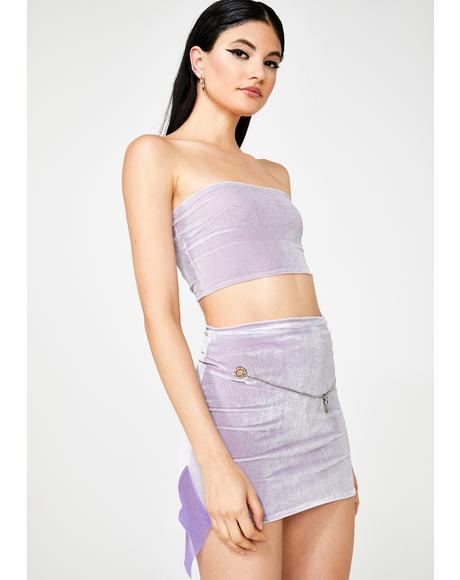 Baby Purple Velvet Skirt Set