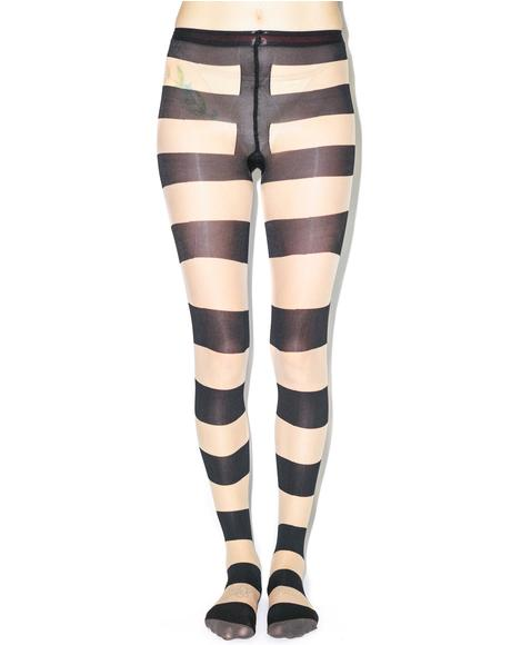 Pretty Polly x Alice & Olivia Horizontal Stripe Tights