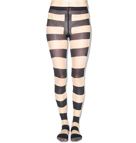 Pretty Polly Pretty Polly x Alice & Olivia Horizontal Stripe Tights