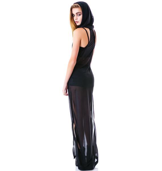 Widow Raven's Shroud Hooded Gown
