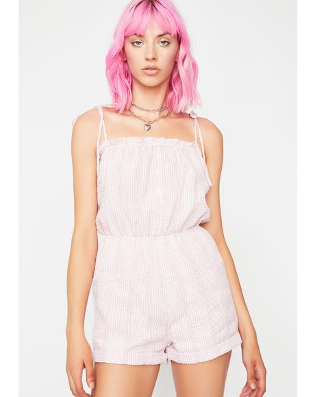 Blush In The Hamptons Gingham Romper