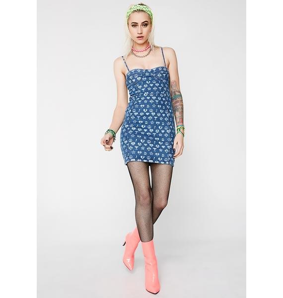 Jaded London Printed Denim Corset Dress