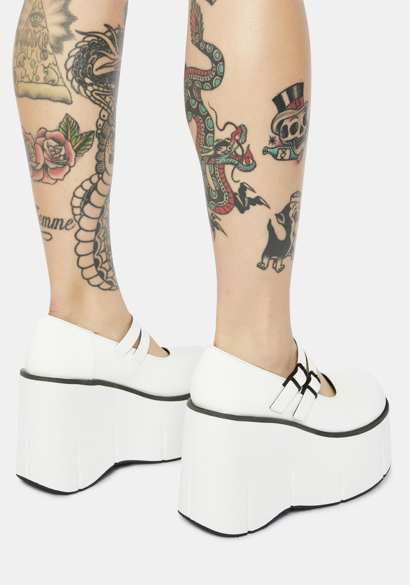 Demonia White Dollhaus Platform Mary Janes