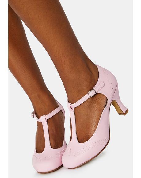 Pink Flapper Block Heels