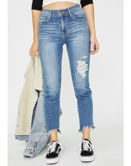 Indigo Pixel 724 Hi Rise Straight Crop Jeans