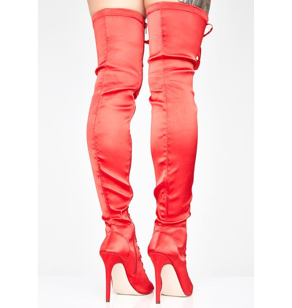 Love Sweet Desire Satin Boots