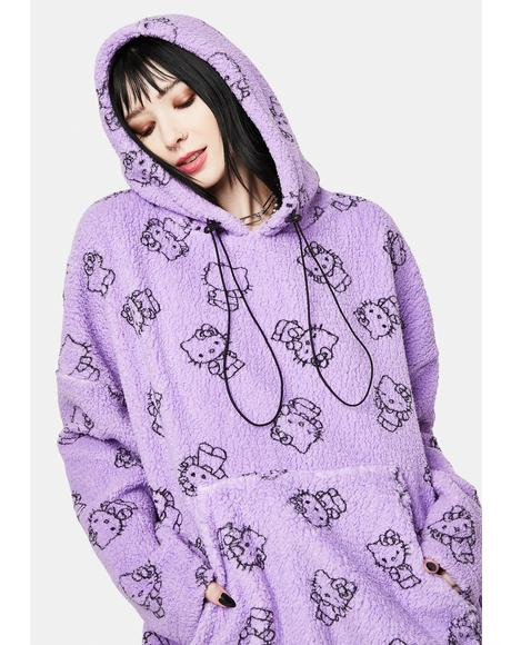 Purple Hello Kitty Printed Fleece Hoodie