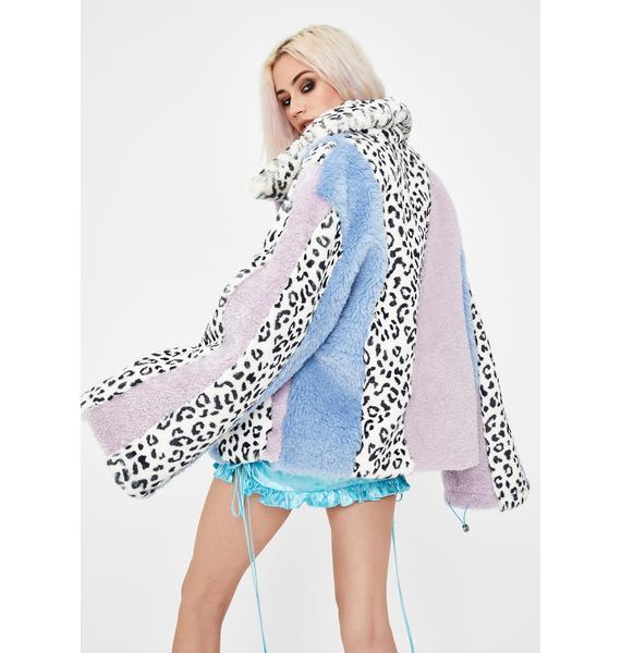 No Dress Leopard Multi Patchwork Faux Fur Jacket