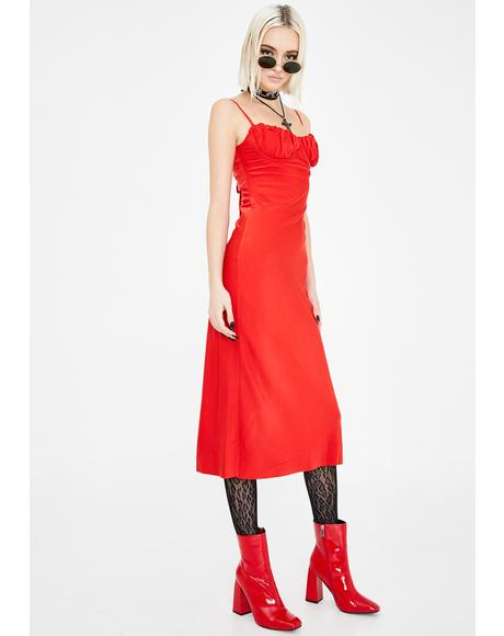 Red Christy Bustier Midi Dress