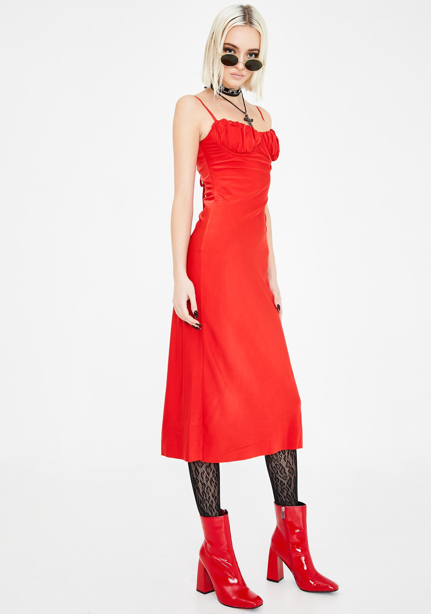 Jagger & Stone Red Christy Bustier Midi Dress