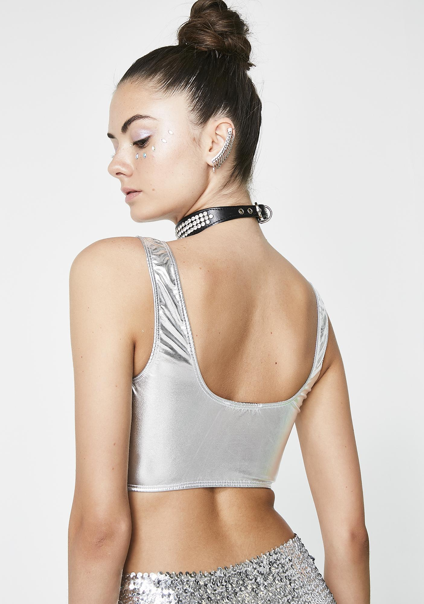 Exxxtragalactic Metallic Crop Top