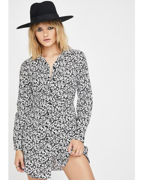 Black White Mini Floral Shirt Dress