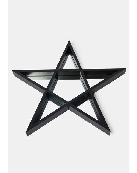 Wicca Wishes Mirrored Pentagram Shelf