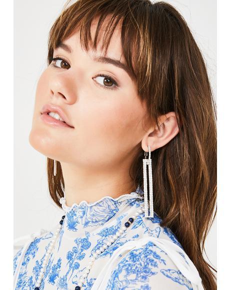 Bling Squared Rhinestone Earrings