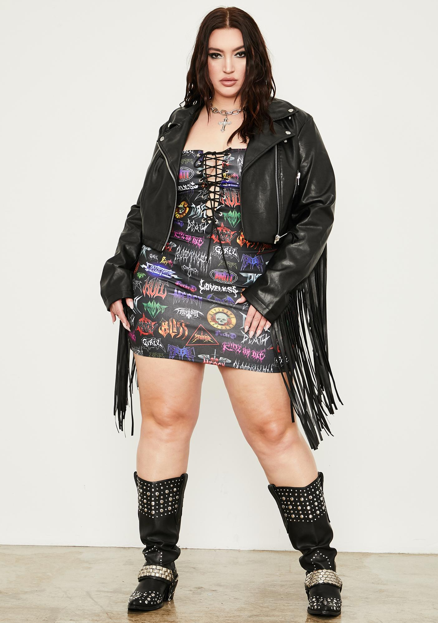 Current Mood Infinite Metal Empire Lace Up Dress
