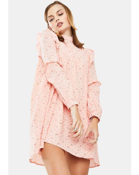 Pink Floral Smock Dress