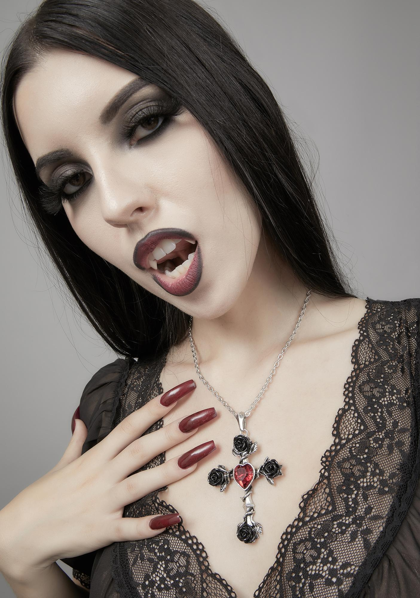 Alchemy England Black Rosifix Necklace