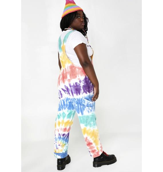 Current Mood Hippie Trippy Delight Tie Dye Overalls