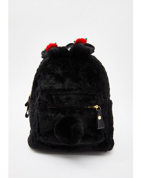 Berry Cuddly Faux Fur Backpack