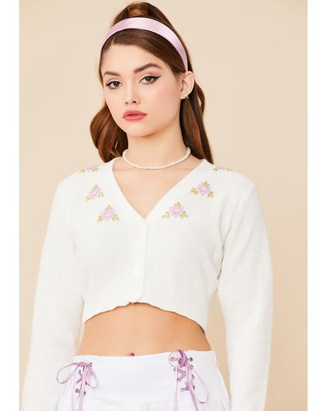 Buy Me Flowers Embroidered Cardigan
